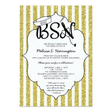 Gold Glitter Nurse graduation BSN pinning ceremony Invitation