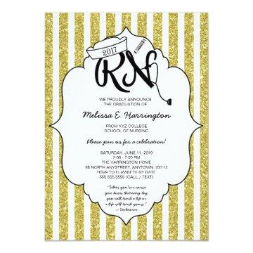 Gold Glitter Nurse graduation RN pinning ceremony Card