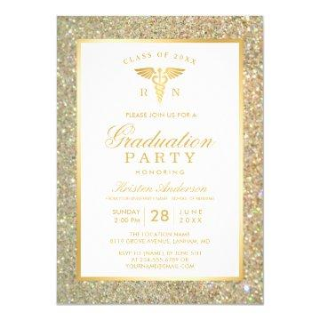 Gold Glitter Nursing School Graduation Party Card
