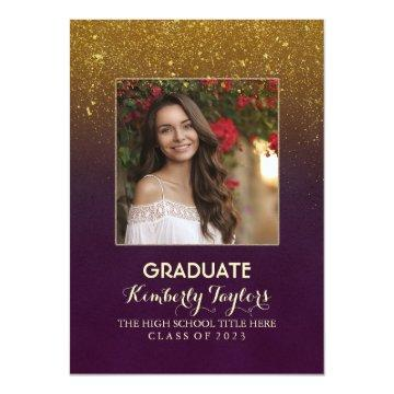 Gold Glitter Photo Graduation Party Announcement
