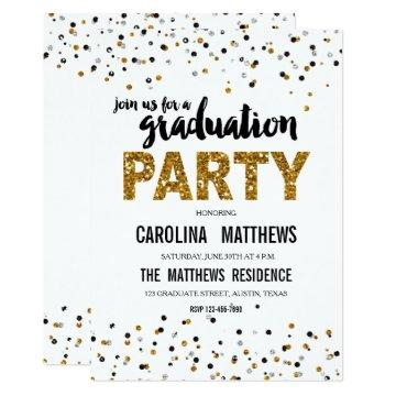 Gold Glitter Polka Dot Graduation Party