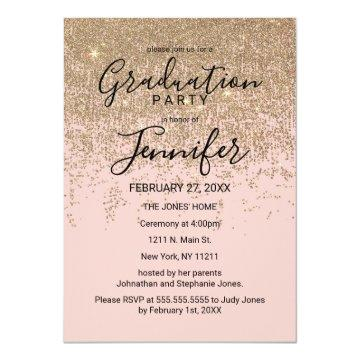 Gold Glitter Sparkles Blush Pink Graduation Party