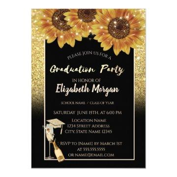 Gold Glitter,Wine,Glass, Sunflowers Invitation