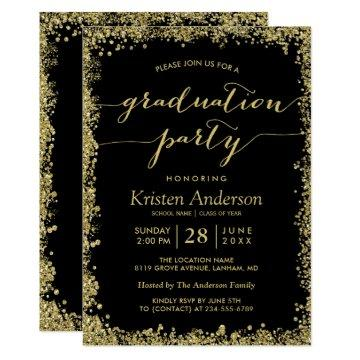 Gold Glitters Border Typography Graduation Party Invitations