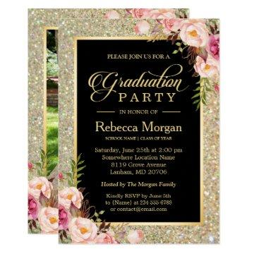 Gold Glitters Floral 2019 Photo Graduation Party Invitation