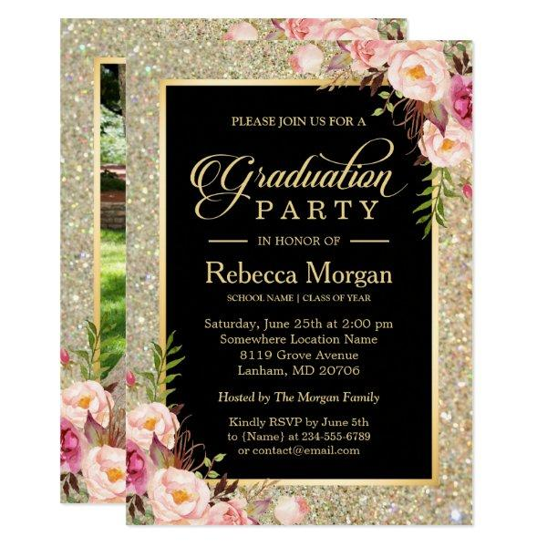 Gold Glitters Floral Photo 2017 Graduation Party Card