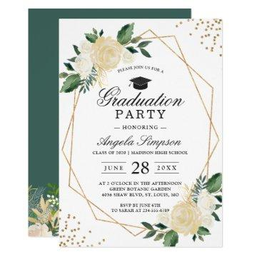 Gold Glitters Greenery Floral Graduation Party Card
