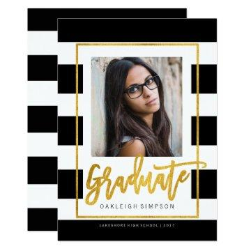 Gold Graduate | Chic Stripe Grad Announcement