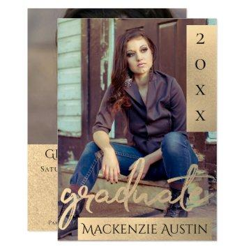 Gold Graduate | Elegant Sepia Brush Photo Party Invitation