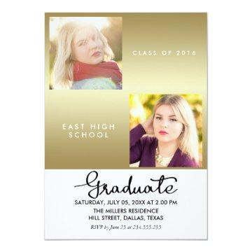 Gold Graduate Modern Two Photos Card
