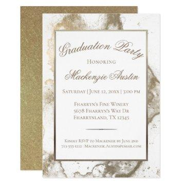 Gold Graduation | Antique Sepia Marble Grad Party Invitation