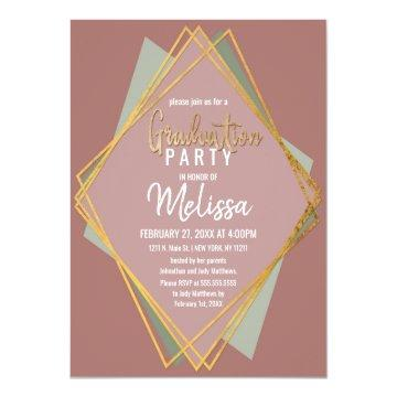 Gold Green Pink and Mauve Geometric Graduation Invitation