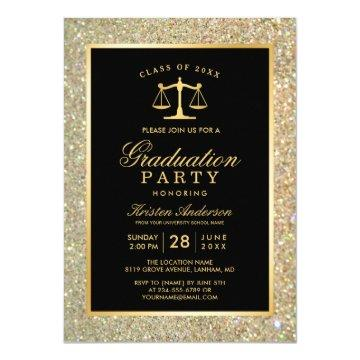Gold Justice Scale Law School Graduation Party Invitation