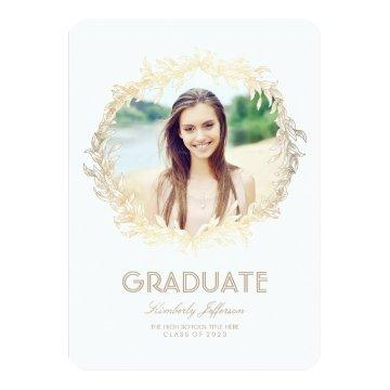 Gold Laurel Photo Graduation Party Invitation