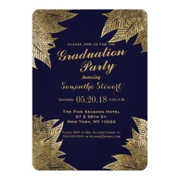 Gold Leaves on Navy Blue Graduation Party Invites