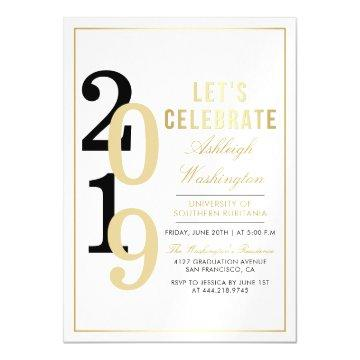 Gold Let's Celebrate | White Graduation Party Magnetic Invitation