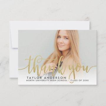 Gold Modern Script Graduation Photo Thank You Card