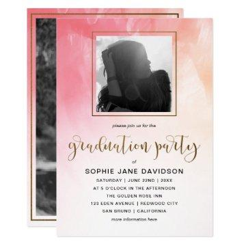 Gold on Pink Watercolor | Graduation Party Photo Card