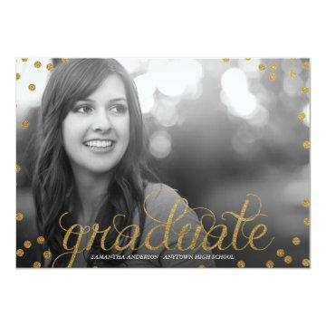 Gold Script Glitter Look Photo Graduation Invite