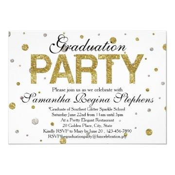 Gold Sparkle Confetti Graduation Party Card