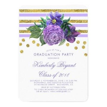 Gold Stripes and Purple Floral Graduation Party Card