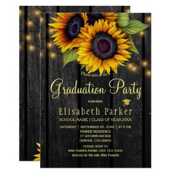 Gold sunflowers rustic barn wood graduation party card