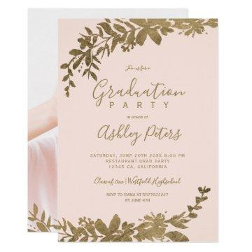 Gold typography leaf floral blush photo graduation invitation