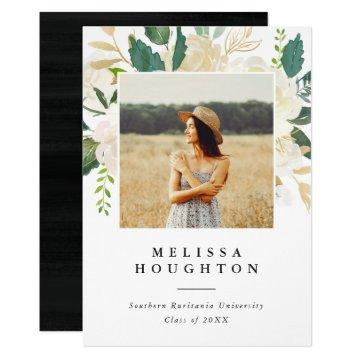 Gold & Watercolor Flowers Photo Graduation Party Invitation