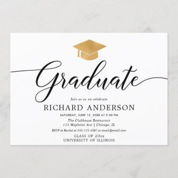 Gold white graduation party, simple calligraphy invitation