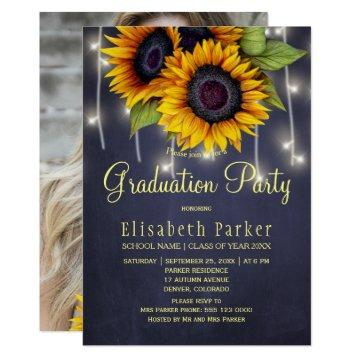 Golden sunflowers PHOTO rustic graduation party Invitation