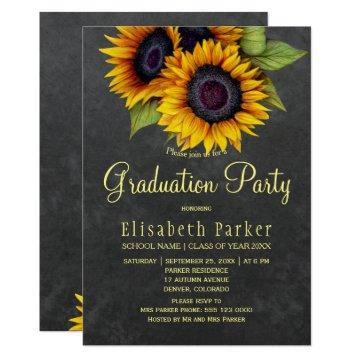Golden sunflowers rustic chic graduation party invitation