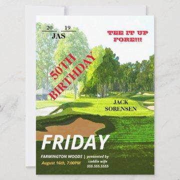 Golf Lover Sport Theme Ticket Groom Birthday Party