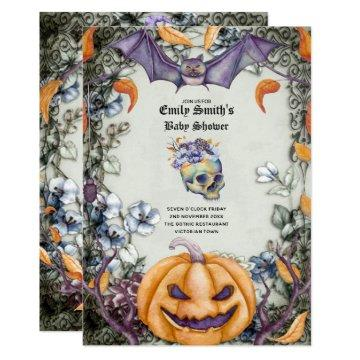 Goth Halloween Baby Shower Purple Orange Skulls Invitation