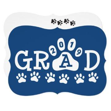 GRAD 2019 Blue | Paw Prints Graduation Invitation