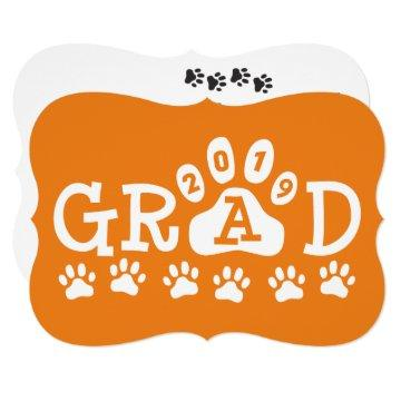 GRAD 2019 Orange | Paw Prints Graduation Invite