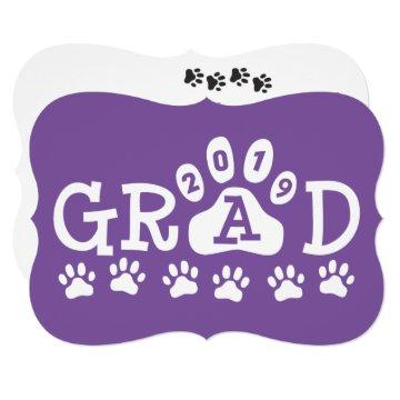 GRAD 2019 Purple | Paw Prints Graduation Invitation