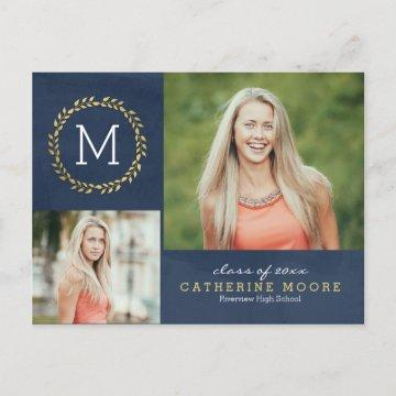 Grad Initial EDITABLE COLOR Graduation Postcard