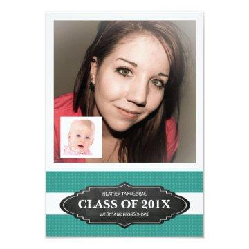 Grad Party with Baby and Teen Photos Card