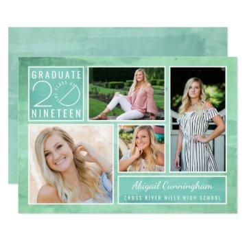 Graduate Class of 2019 4-Photo Watercolor Party Invitation