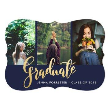 Graduate Faux Gold Foil Script Photo | Navy Blue