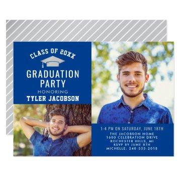 Graduate Party Photo Invitation | Blue and Silver