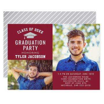Graduate Party Photo Invitation | Red and Silver