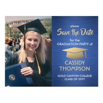 Graduate Photo Blue Gold Graduation Save the Date Postcard