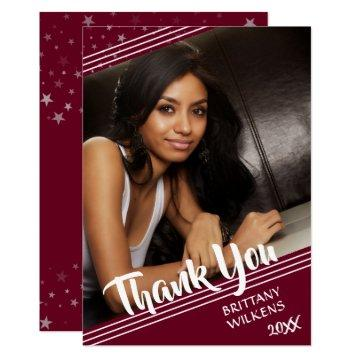 Graduate Thank You, Lines & Stars, Editable Maroon Card