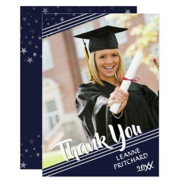 Graduate Thank You, Lines & Stars, Navy Blue Card