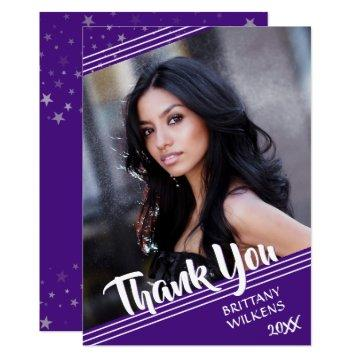 Graduate Thank You | Stars | Purple and White Invitation