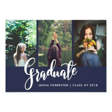 Graduate Typography Three Photos | Navy Blue Card