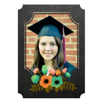 Graduation 2015 Thank You Chalkboard Floral Card