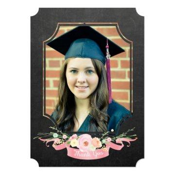 Graduation 2017 Thank You Chalkboard Floral Card