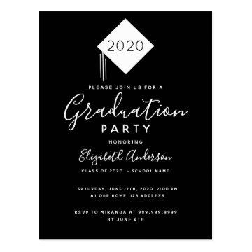 Graduation 2020 party cap black white invitation postcard